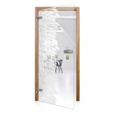 Celoskleněné otočné dveře čiré Foglio