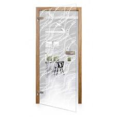 Celoskleněné otočné dveře čiré Frizzante