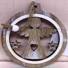 Dřevěná ozdoba Andílek hnědý