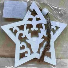 Dřevěná ozdoba Hvězda bílá