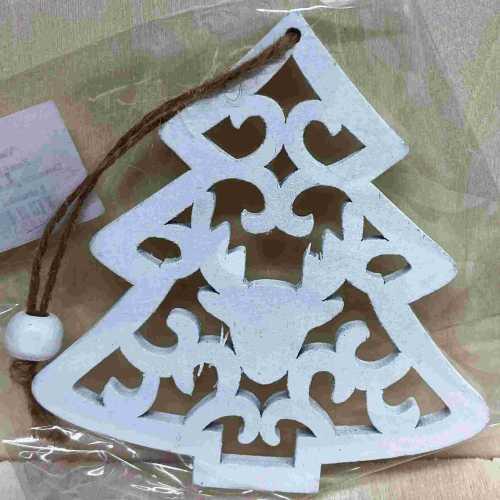 Dřevěná ozdoba Stromeček bílý
