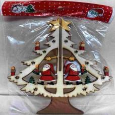 Dřevěná ozdoba Stromeček Santa barevný