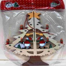 Dřevěná ozdoba Stromeček sněhulák barevný