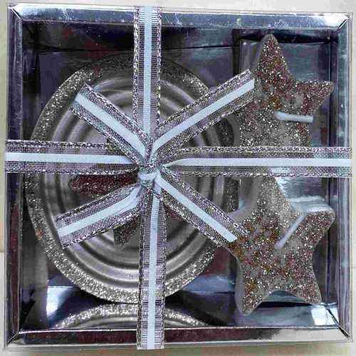 Svíčka hvězda stříbrná 3ks s nástavcem