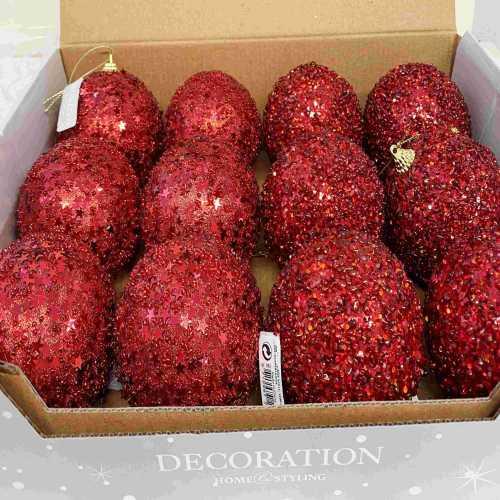 Vánoční ozdoba koule červená s dekorem 12kusů