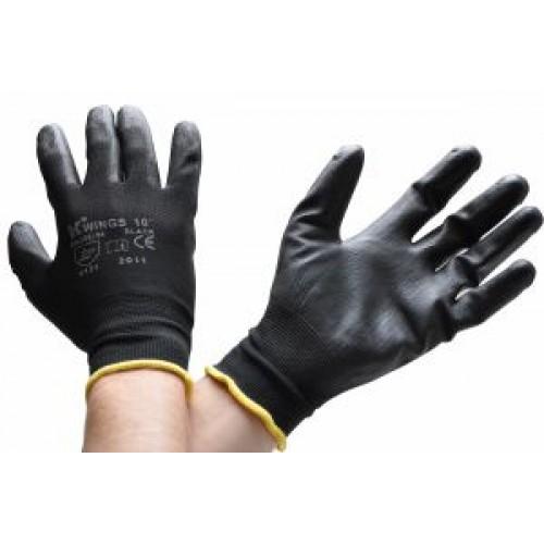 Rukavice WINGS BLACK nylon černé 1 pár